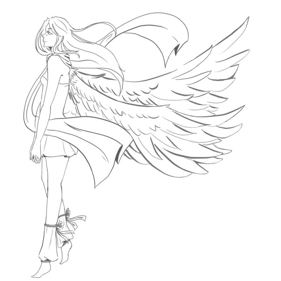 894x894 Female Angel Lineart By Xxsadako Chanxx