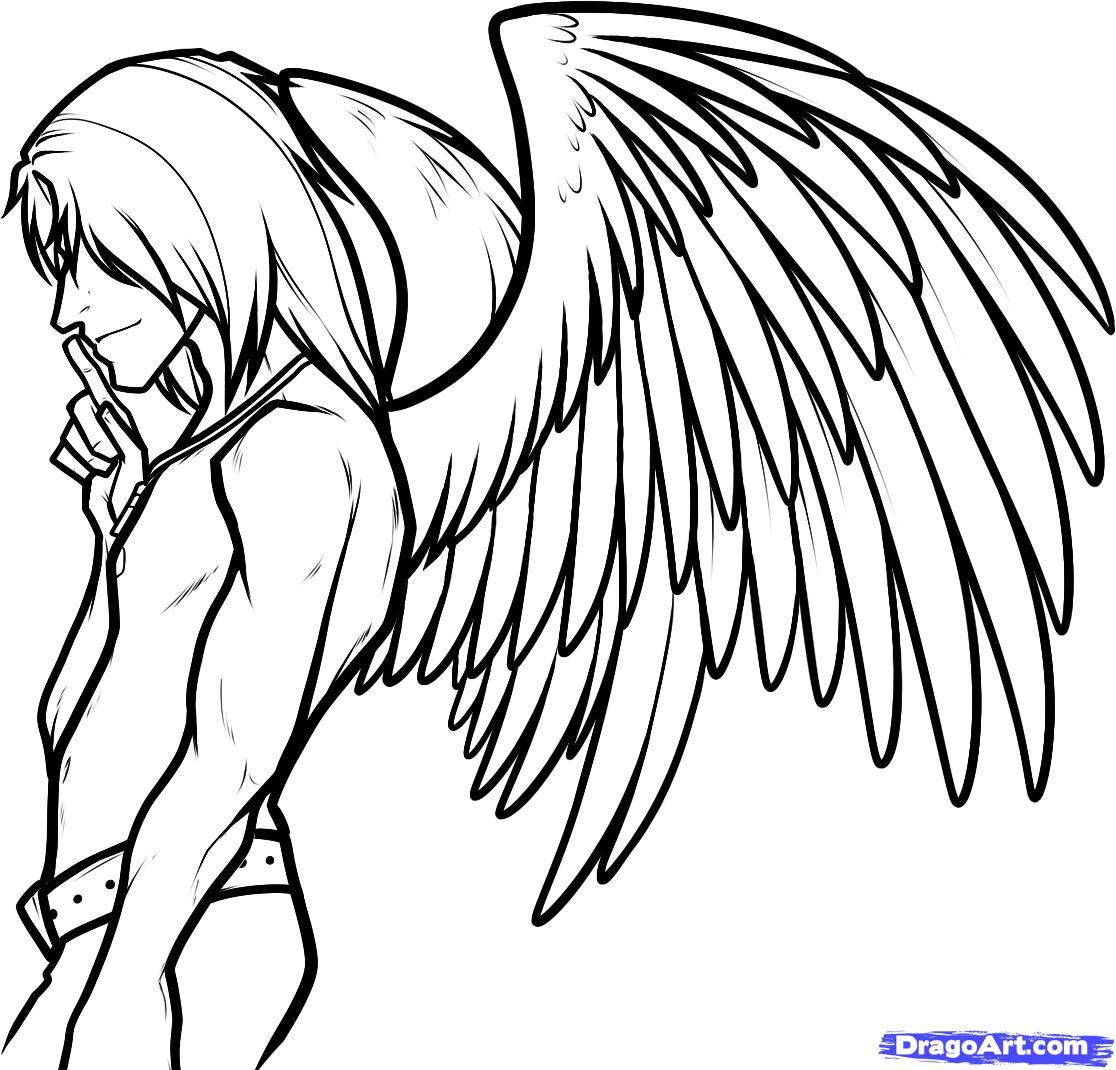 1116x1070 Graffiti Sketch Angel Draw An Angel Boy, Angel Man, Stepstep