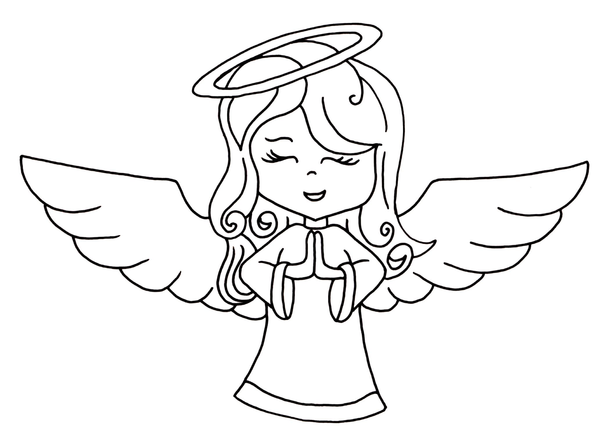 2098x1542 Line Drawings Of Angels Angel Line Art Free Download Clip Art