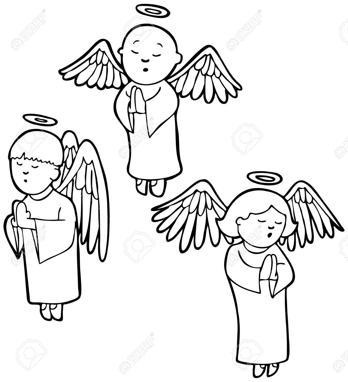 1185x1300 Praying Angels Line Art Three Angels Praying In A Cartoon Style