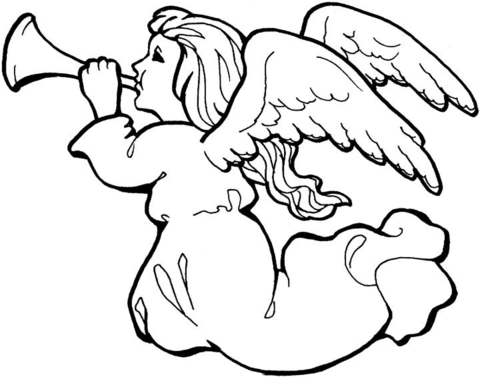 480x377 Angel With Trumpet Coloring Page Free Printable Coloring Pages