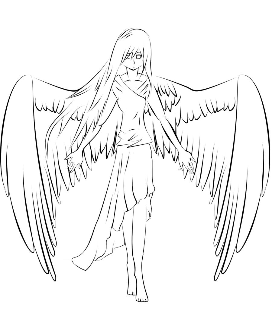 900x1025 Angel Line Art By Yanxchan