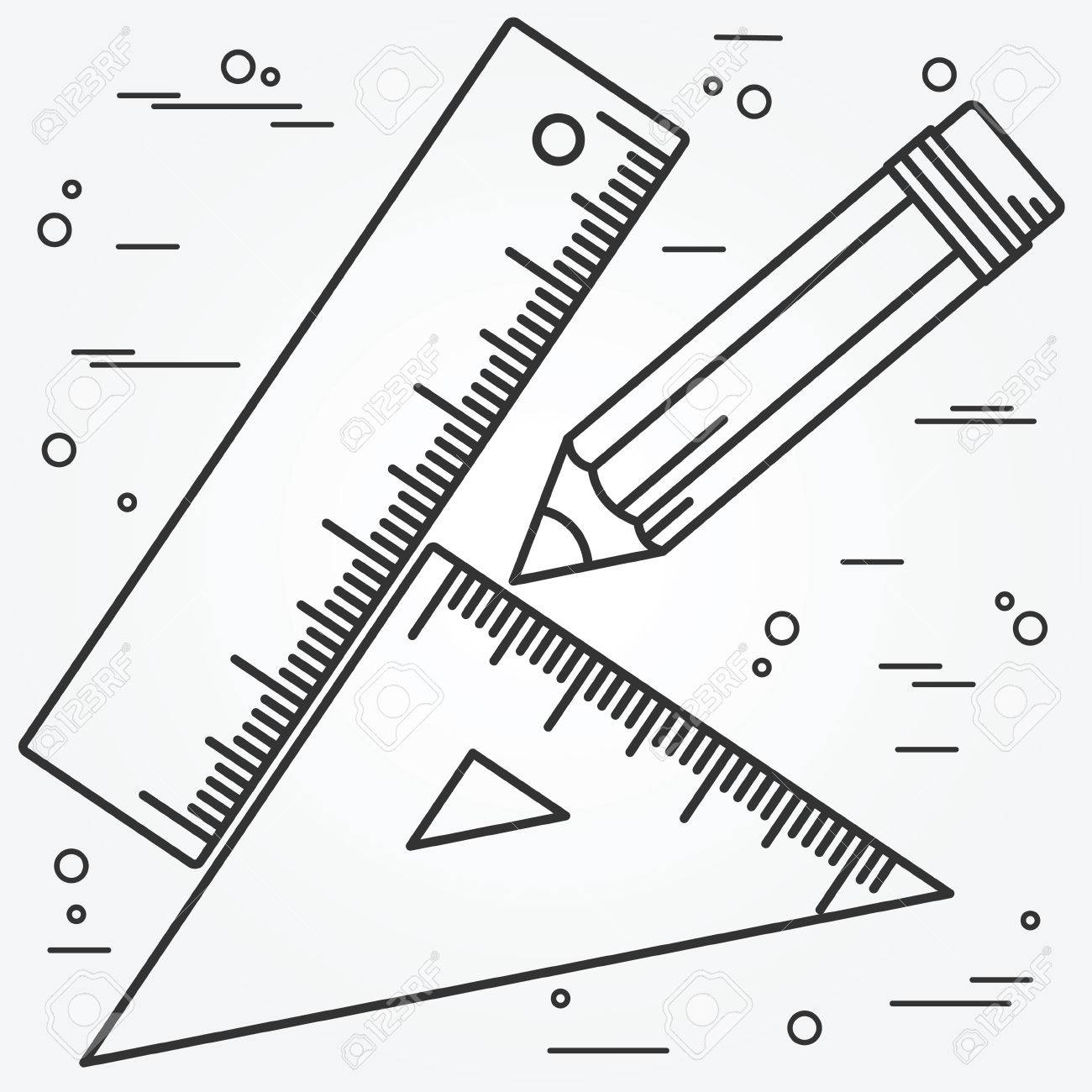 1300x1300 Ruler, Angle And Pencill Thin Line Design.ruler, Angle And Pencil