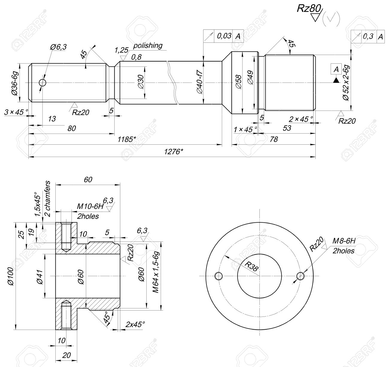 1300x1228 Sketch Of Bearing With Polishing And Chamfers. Engineering Drawing