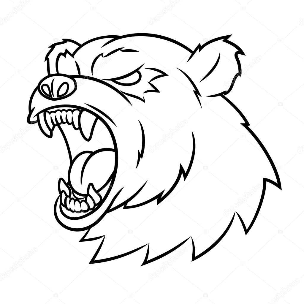 1024x1024 Angry Bear Head Stock Vector Den0909