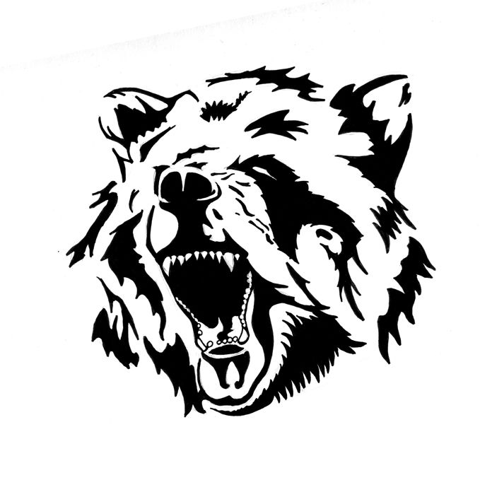 679x679 Collection Of Grey Ink Angry Bear Face Tattoo Design