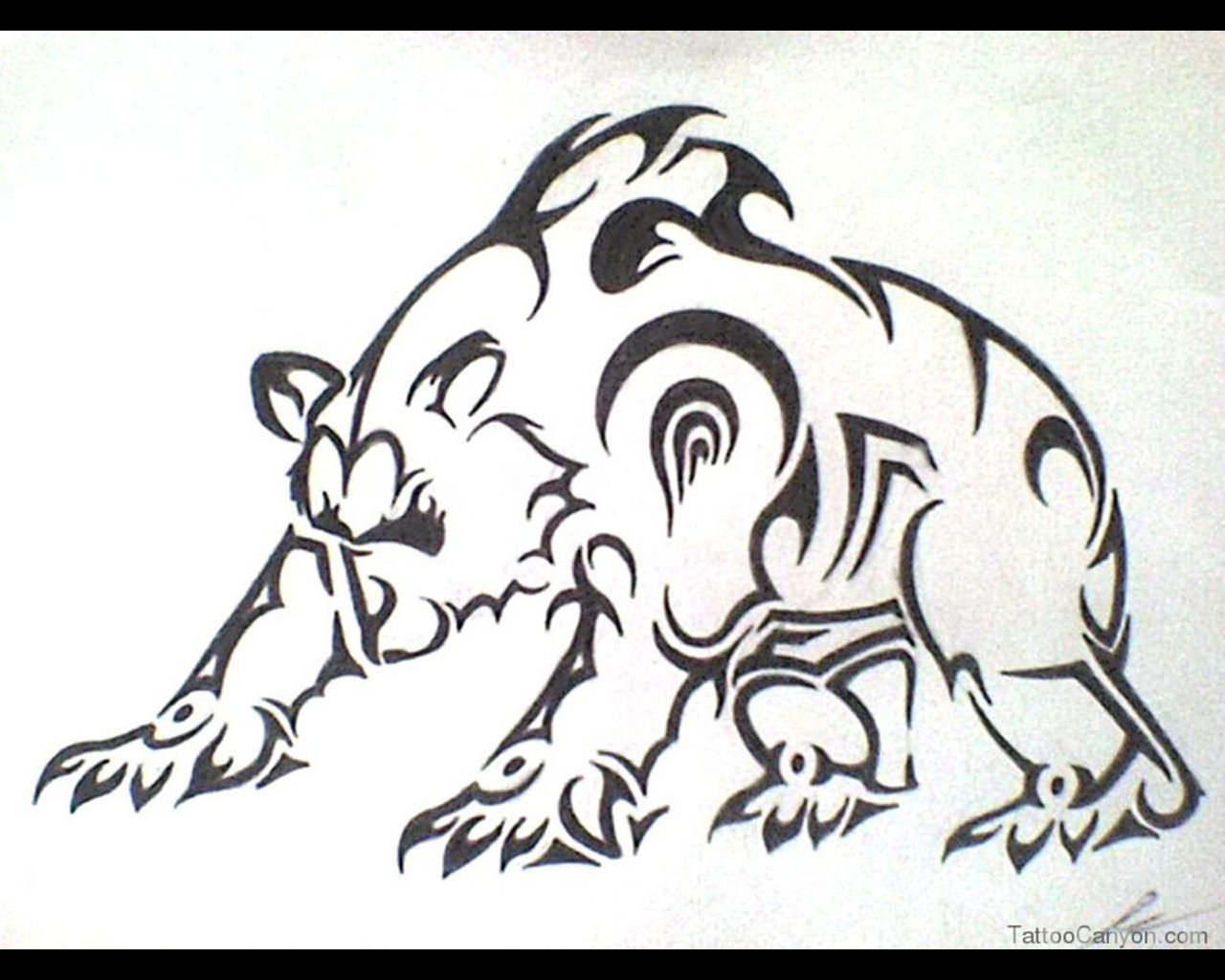 1280x1024 Designs Evil Tribal Bear Ready For Attack Tattoo Wallpaper Tattoo