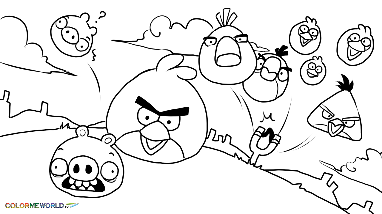 1280x720 Angry Birds Coloring Pages For Kids Printable
