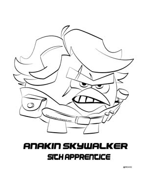 300x350 Angry Birds Star Wars 2 Coloring Pages Anakin