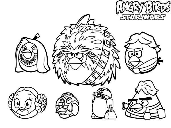 600x450 Angry Birds Star Wars Characters Coloring Pages Batch