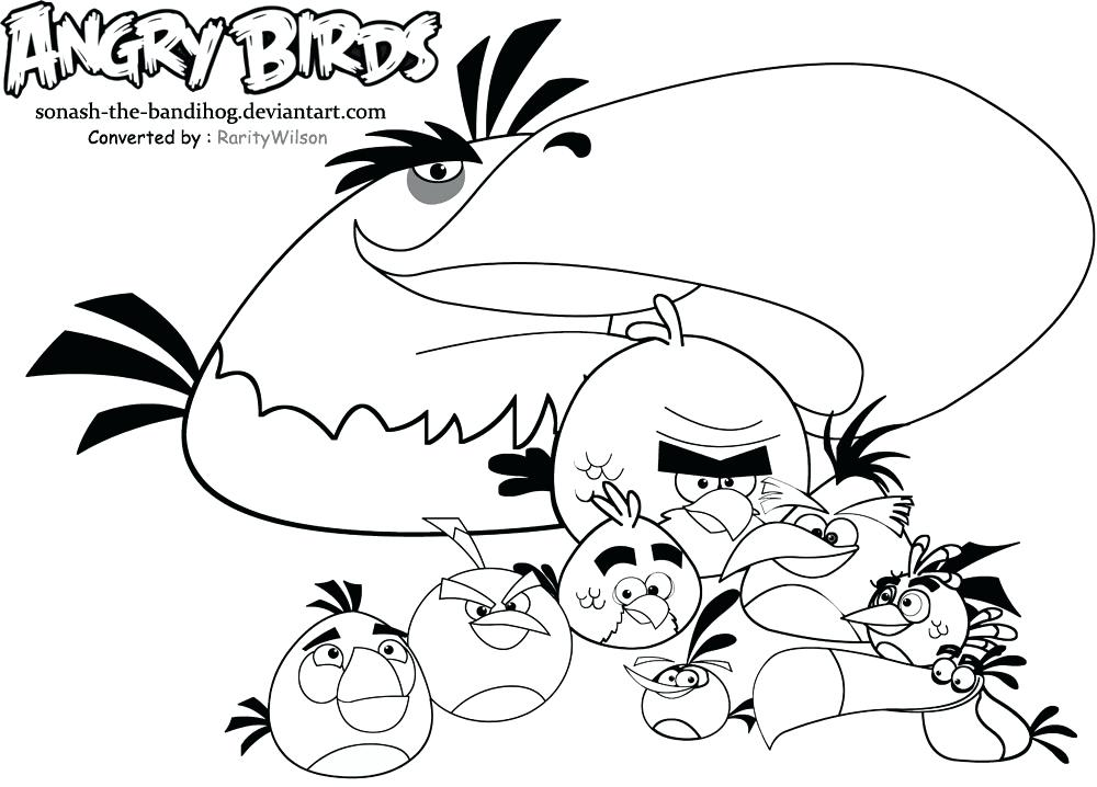 1000x718 Angry Bird Go Coloring Pages Birds Dads And Sons Pig Rock