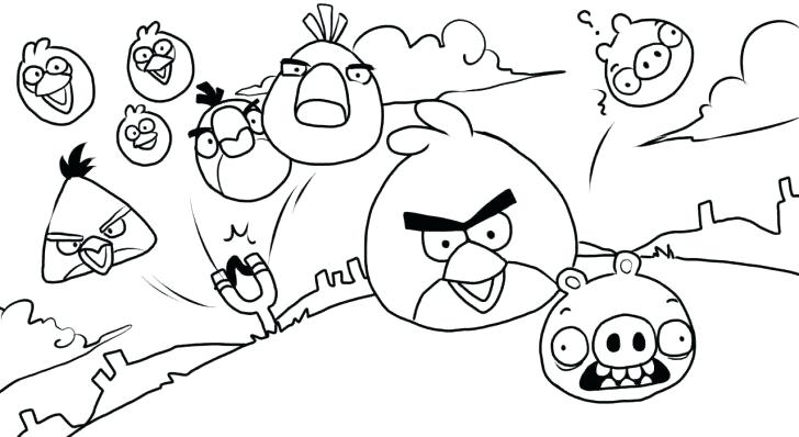 728x398 Angry Birds Space Coloring Pages Free Bird Color Line Drawings