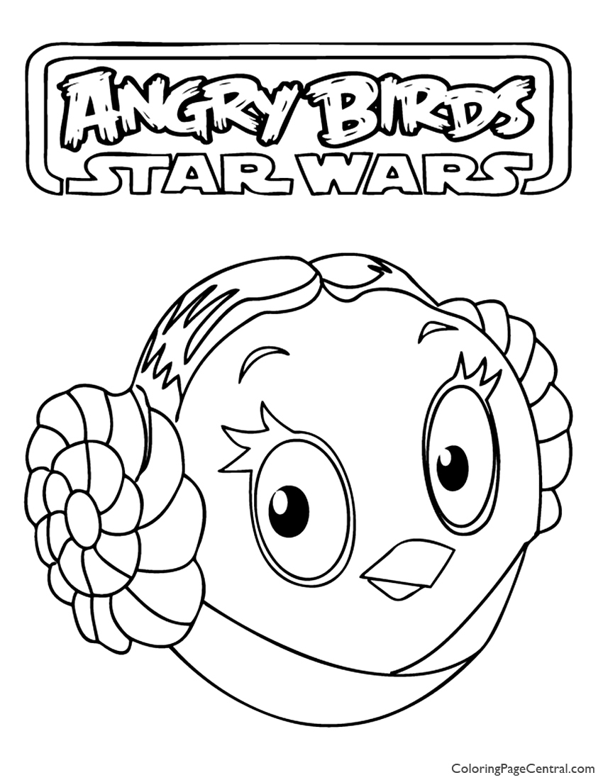 850x1100 Angry Birds Star Wars Princess Leia 01 Coloring Page Coloring