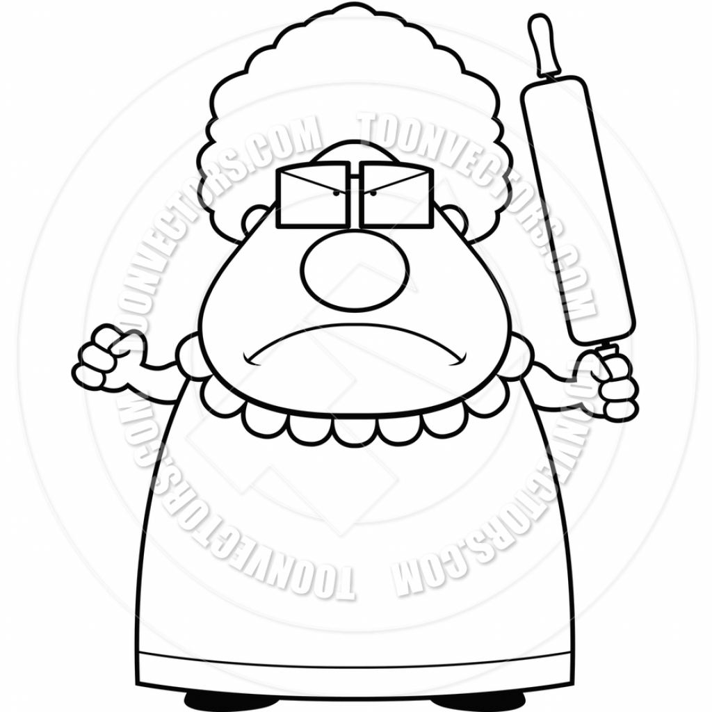 1024x1024 Cartoon Drawing Grandmother Angry Grandma Cartoon Clipart