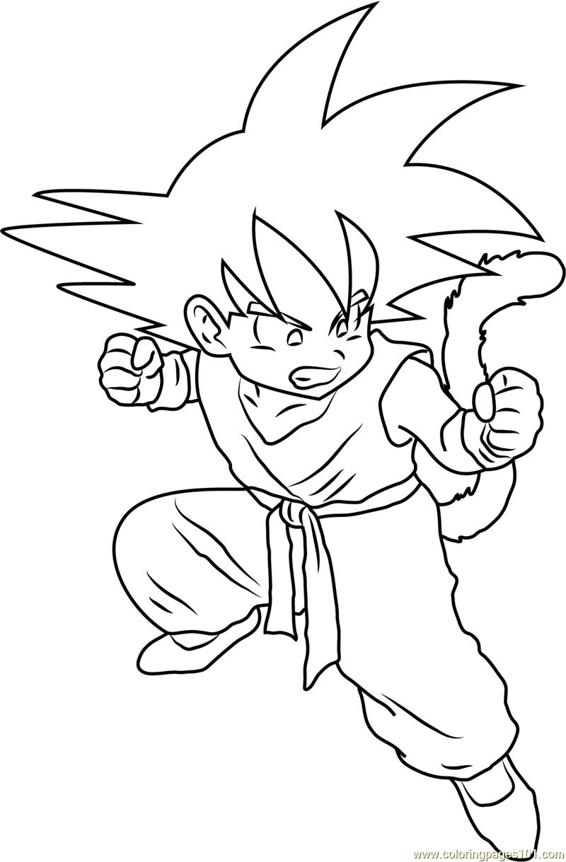 800x1219 Angry Kid Goku Coloring Page