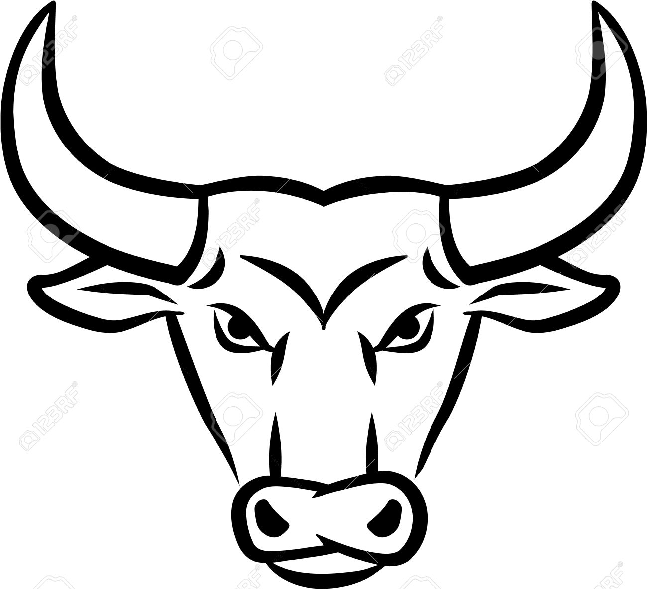 It is a graphic of Decisive Bull Head Drawing