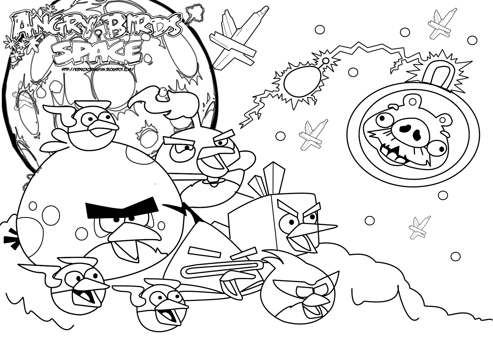 1600x1131 Angry Birds Rio Drawing Space Coloring Pages With Black Home