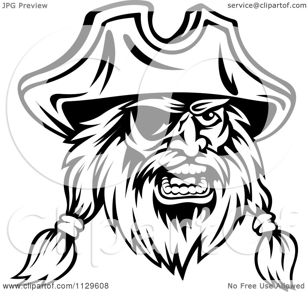 1080x1024 Clipart Of An Angry Black And White Pirate Face With An Eye Patch