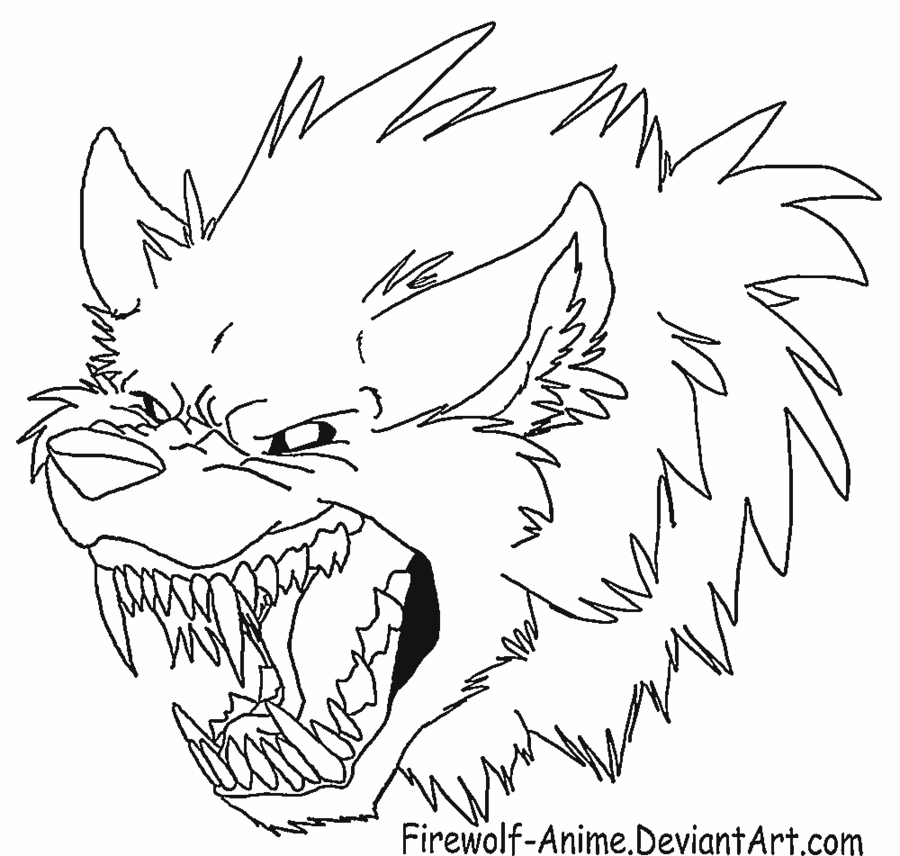900x856 Werewolf Head Lineart By Firewolf Anime