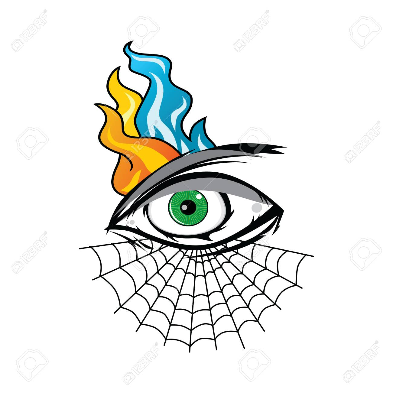 1300x1300 Angry Eye With Spiderweb Tattoo Cartoon Theme Vector Art
