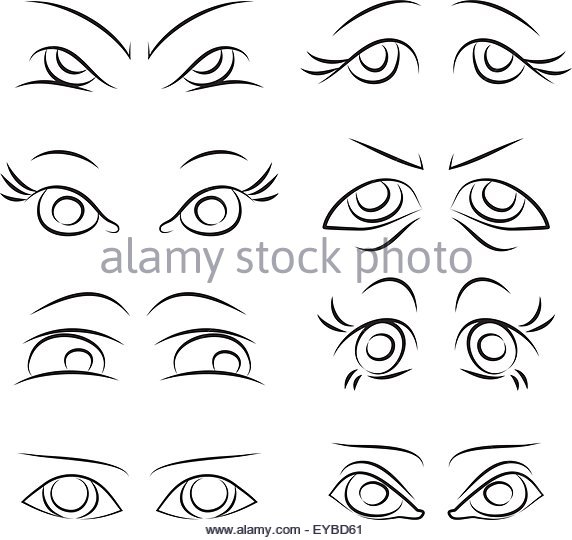 572x540 Angry Eyes Manga Stock Vector Images