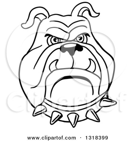 450x470 Clipart Of A Cartoon Angry Bulldog Face With A Red Spiked Collar