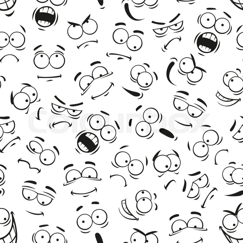 800x800 Emoticon Icons. Human Face Expresions Pattern. Vector Pattern