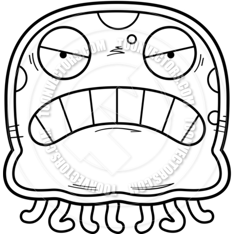 460x460 Cartoon Little Jellyfish Angry (Black Amp White Line Art) By Cory