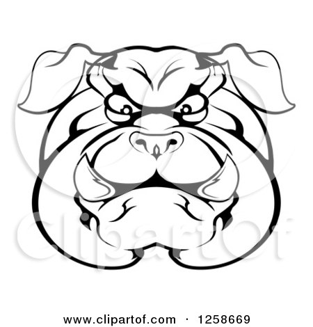 450x470 Clipart Of A Black And White Angry Bulldog Face