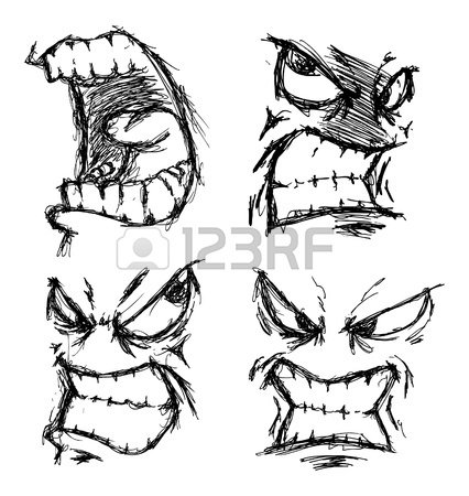 426x450 Set Of Angry Face Doodle Royalty Free Cliparts, Vectors, And Stock