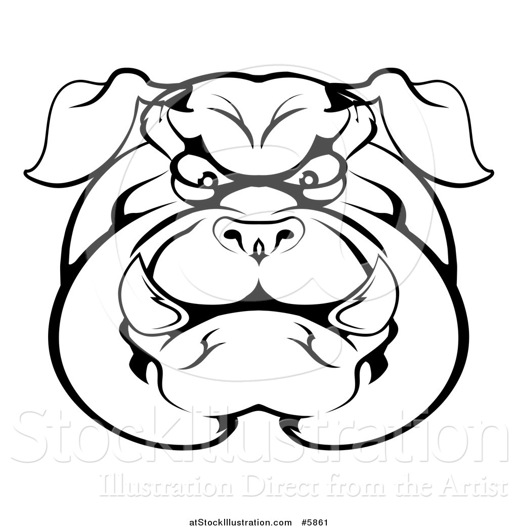 1024x1044 Vector Illustration Of A Black And White Angry Bulldog Face By
