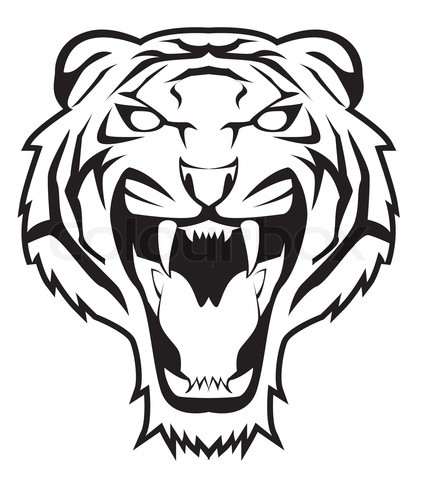 425x480 Angry Tiger Face Vector Projects To Try Tiger Face