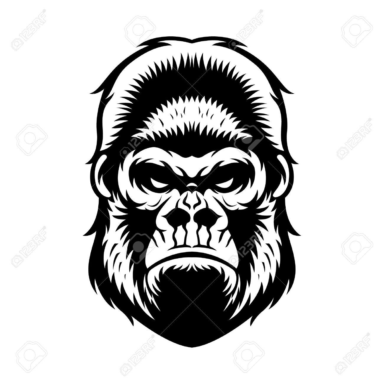 1300x1300 Gorilla Head Vector Graphic Illustration Black And White Royalty