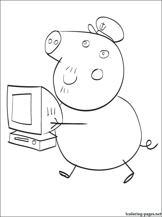 560x750 Pig To Color Grandpa Pig Coloring Page Peppa Pig Color Sheets