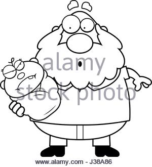 300x330 A Cartoon Illustration Of A Grandpa With An Angry Baby Looking