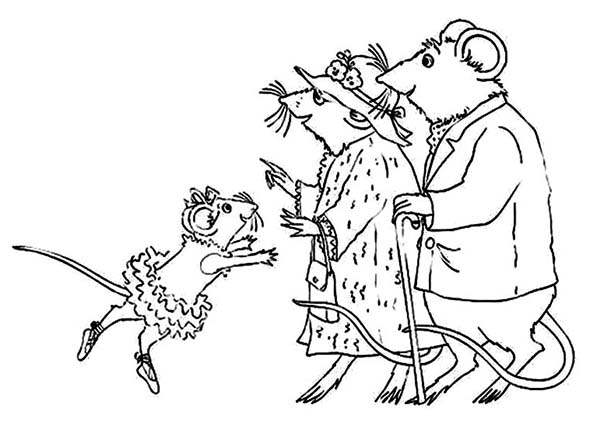 600x432 Angelina Ballerina Grandpa And Grandma Just Arrived Coloring Pages