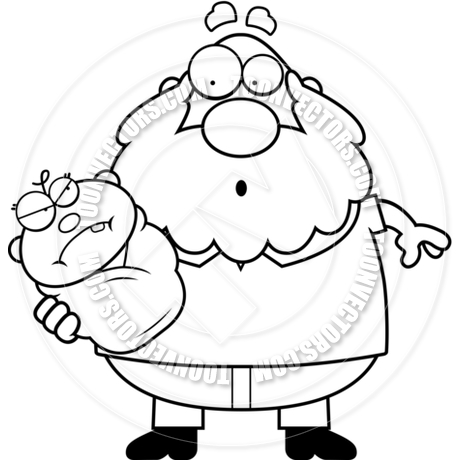 460x460 Cartoon Grandpa With Angry Baby (Black And White Line Art) By Cory