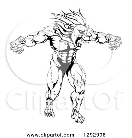 450x470 Clipart Of A Black And White Muscular Angry Lion Man Roaring