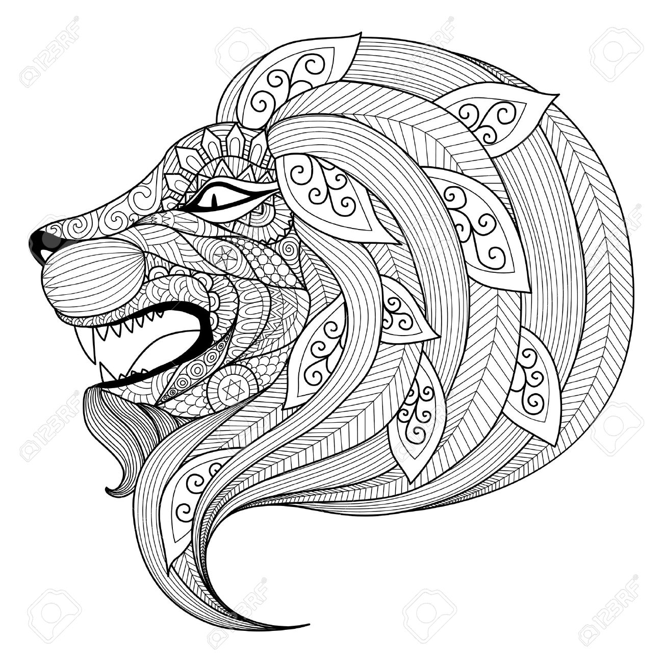 1300x1300 Drawing Angry Lion For Coloring Book For Adult Royalty Free