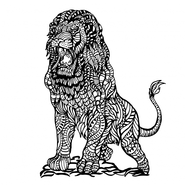 626x626 Ornamental Hand Drawn Angry Lion Vector Free Download