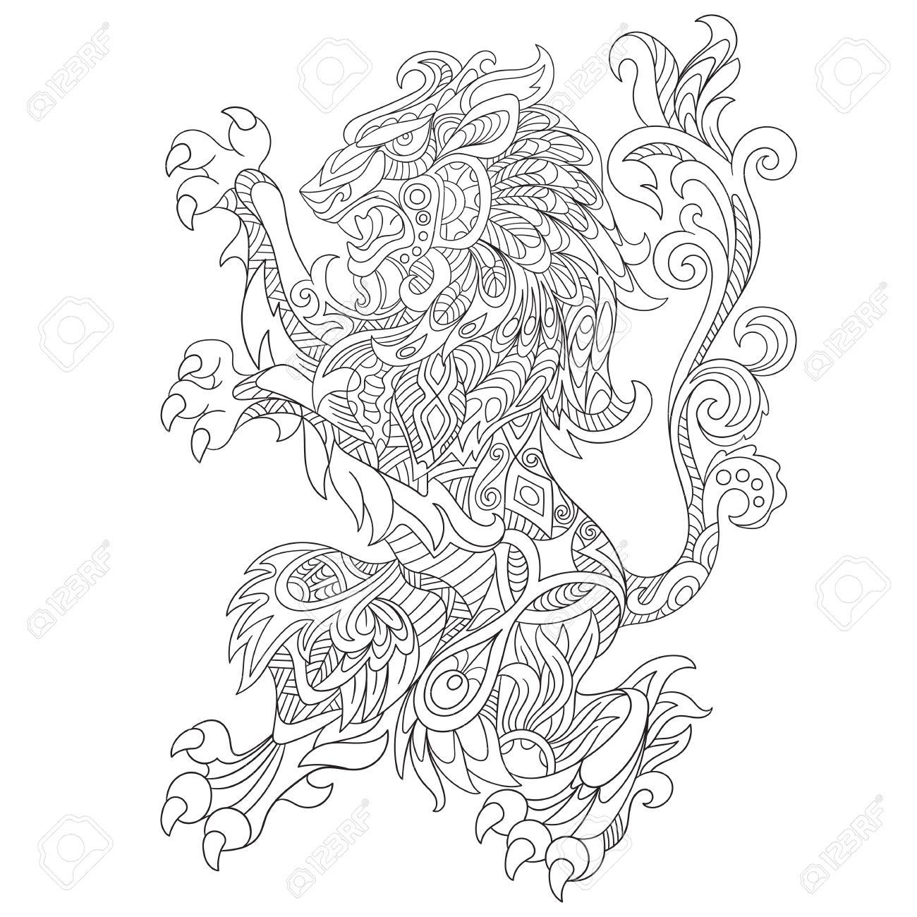 1300x1300 Stylized Cartoon Wild Angry Lion, Isolated On White Background