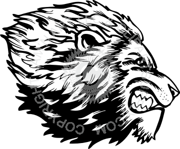 361x299 Lion Head Facing Right