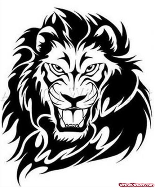 500x607 Angry Lion Face Tattoo Sample Tattoo