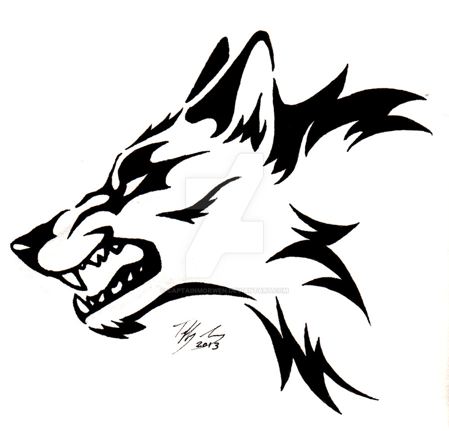 Angry wolf face lineart