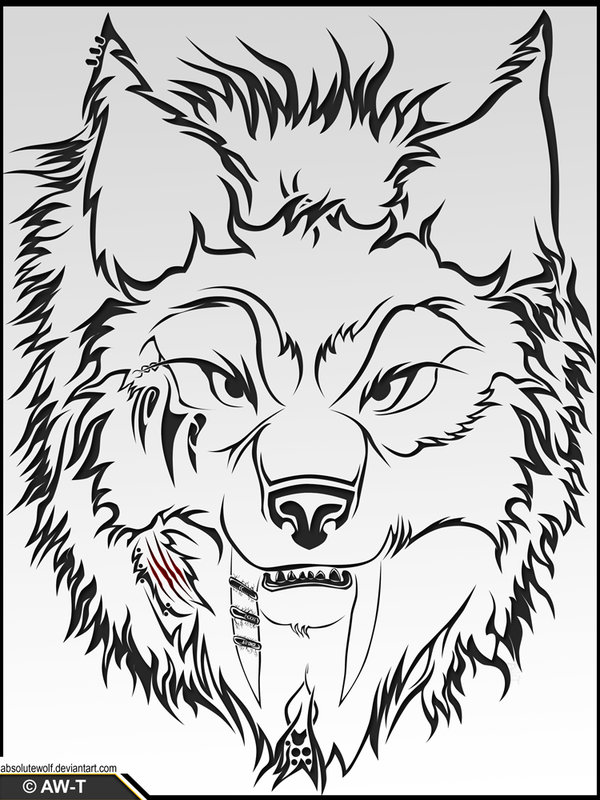 600x800 Wolf Head Tattoo By Absolutewolf