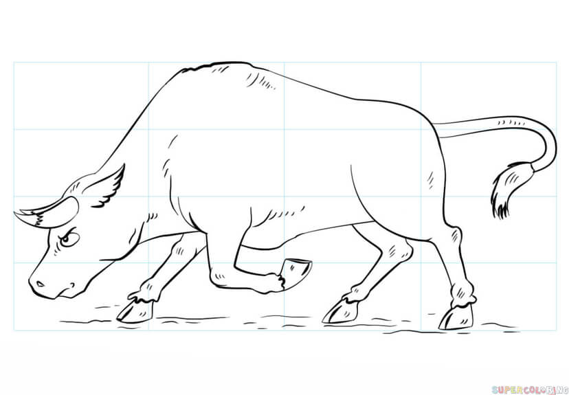 828x575 How To Draw A Bull Step By Step Drawing Tutorials