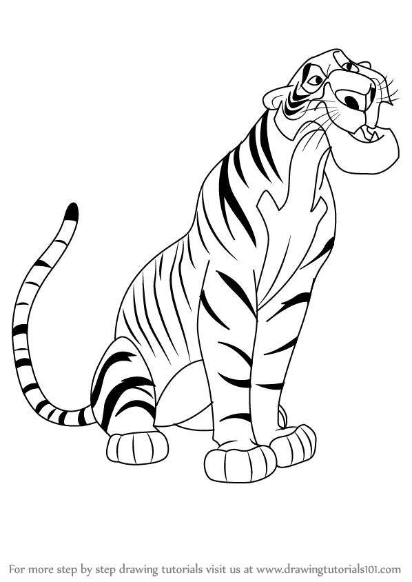 598x844 Learn How To Draw Shere Khan From The Jungle Book (The Jungle Book