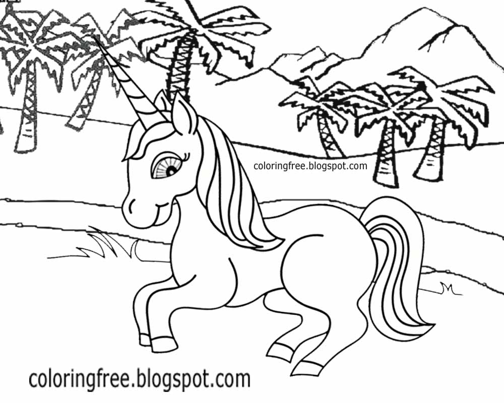 1000x800 Printable Unicorn Drawing Mythical Coloring Book Pictures For Kids