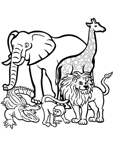 371x480 African Animals Coloring Page Free Printable Coloring Pages