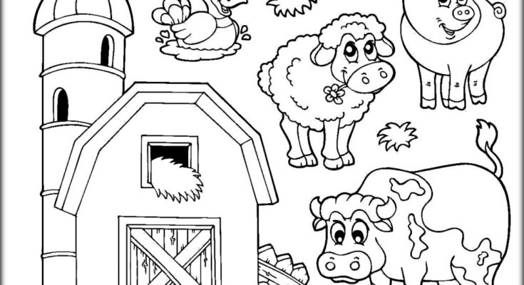735x400 Animal Coloring Coloring Page Farm Animal Cartoon Coloring Pages